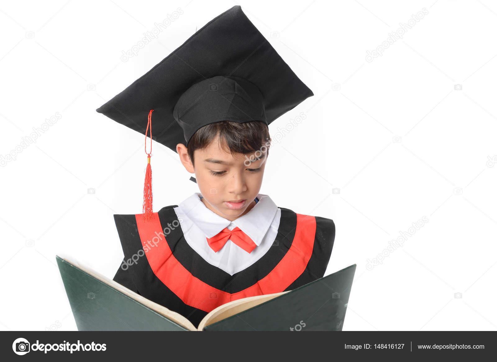 Boy in Graduation Gown Bachelor Robe Cap Academic Dress Kids Cosplay ...