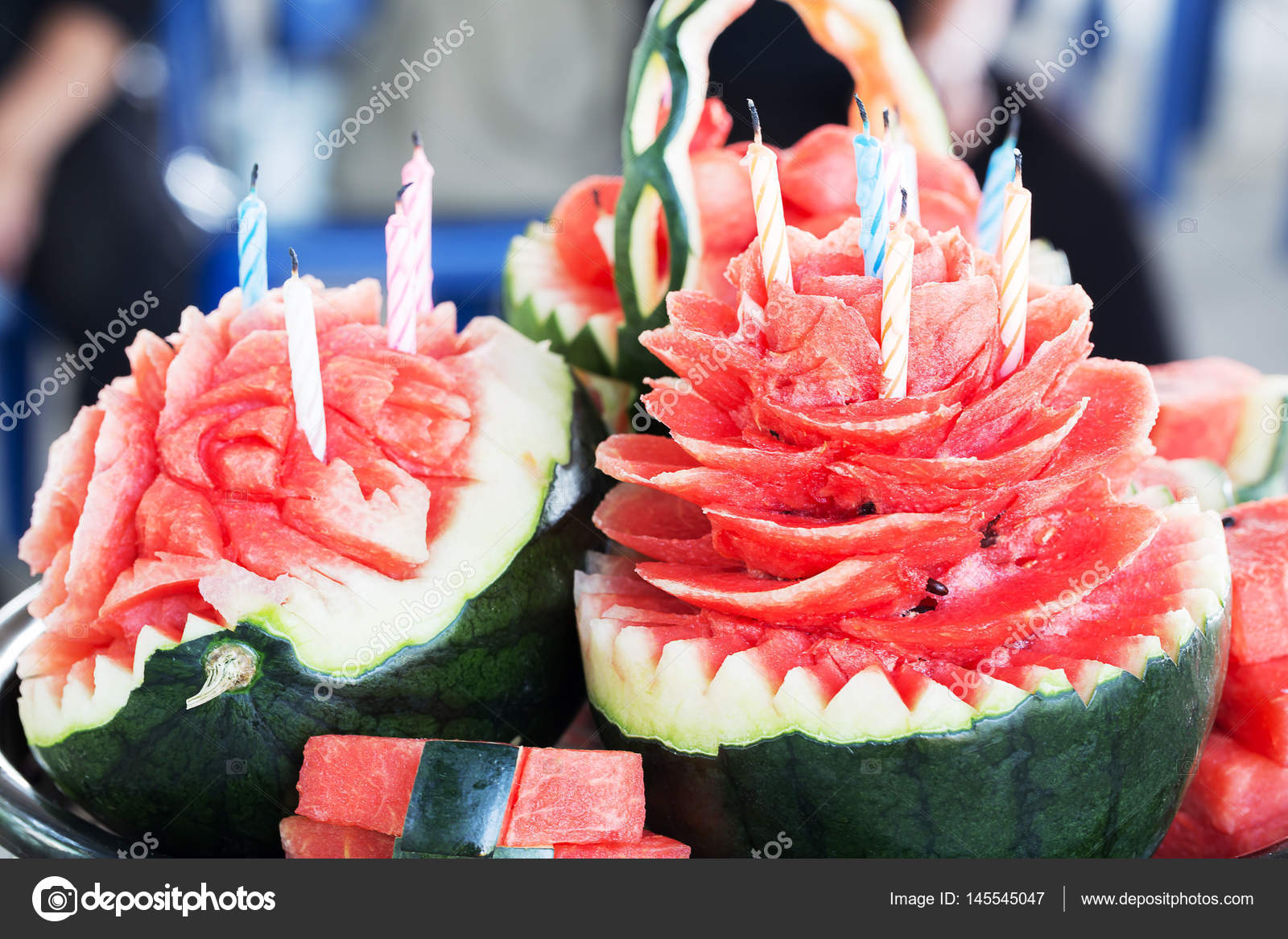 Watermelon Carved Into Flowers With Birthday Candles Photo By Praiwun