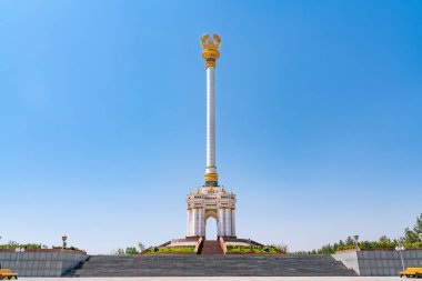 The Independence Monument inside Rudaki Park in the Tajikistan capital Dushanbe