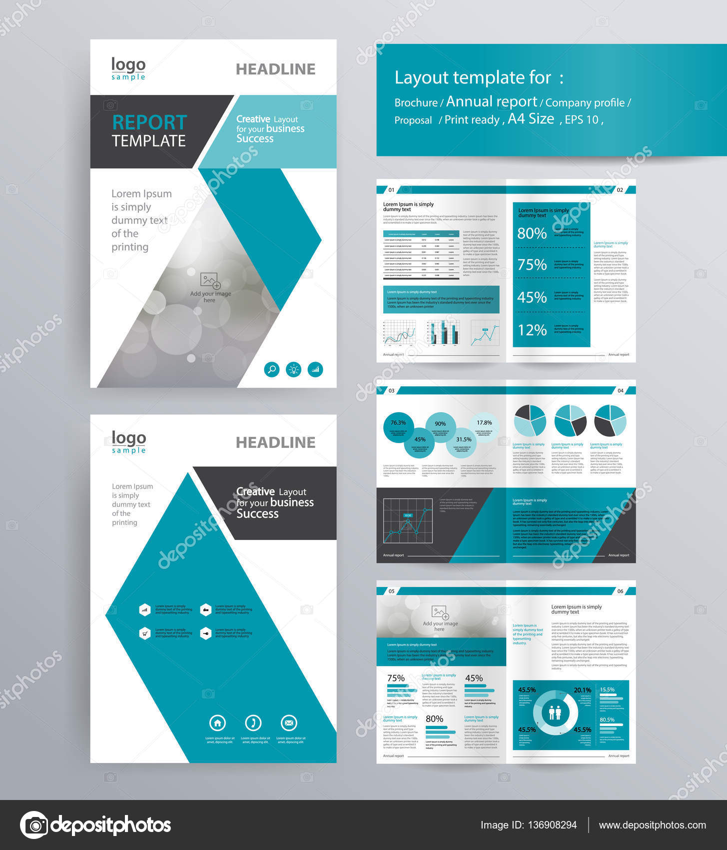 Attractive Company Profile, Annual Report, Brochure, And Flyer Layout Template. With  Info Graphic