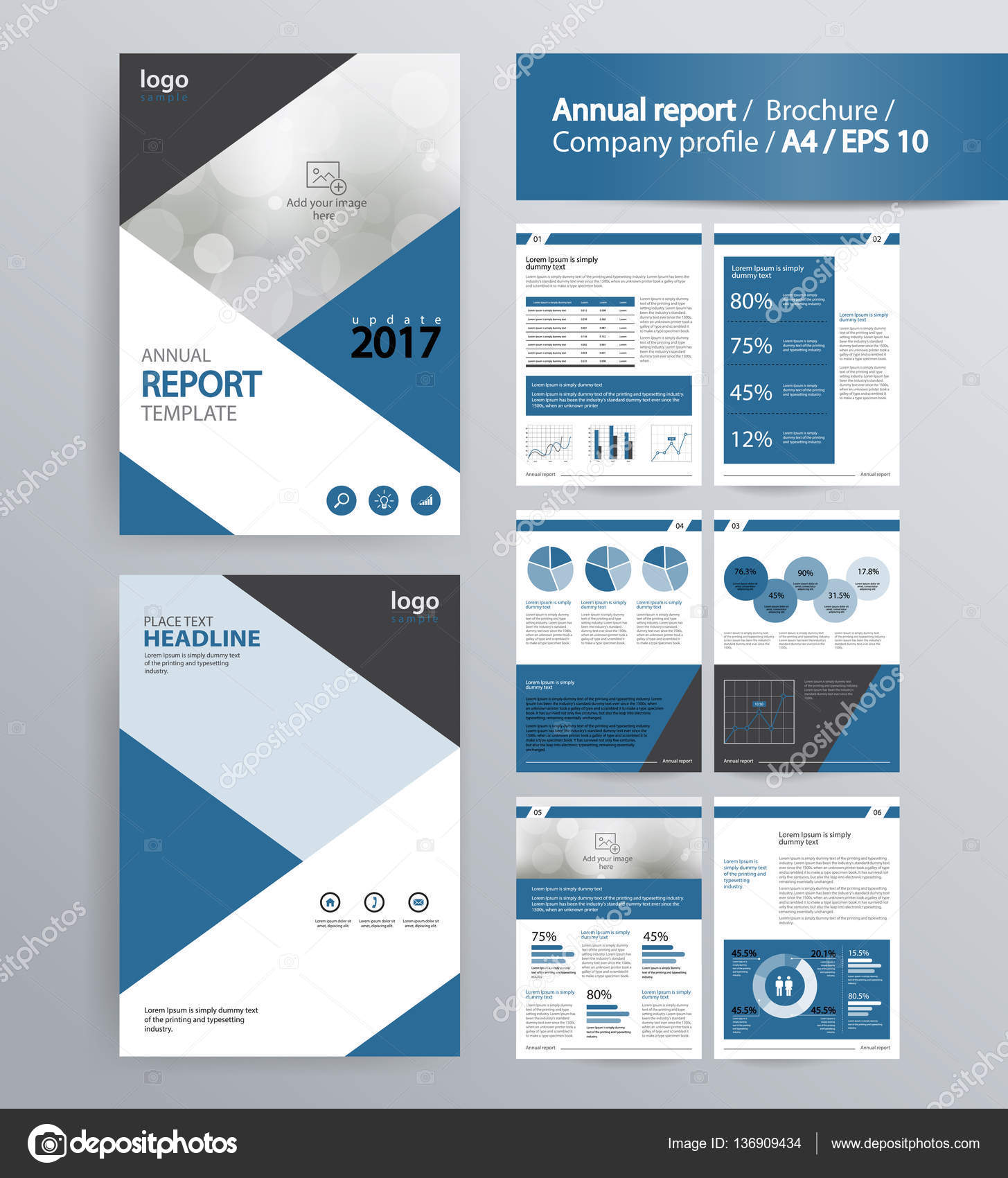 Company Profile, Annual Report, Brochure, And Flyer Layout Template. With  Info Graphic
