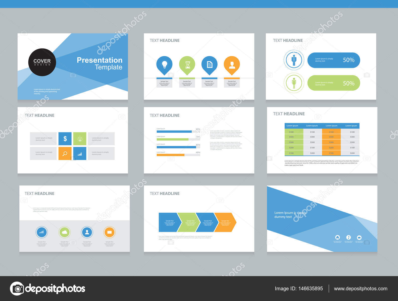 Page Layout Design Template For Business Presentation Brochure And