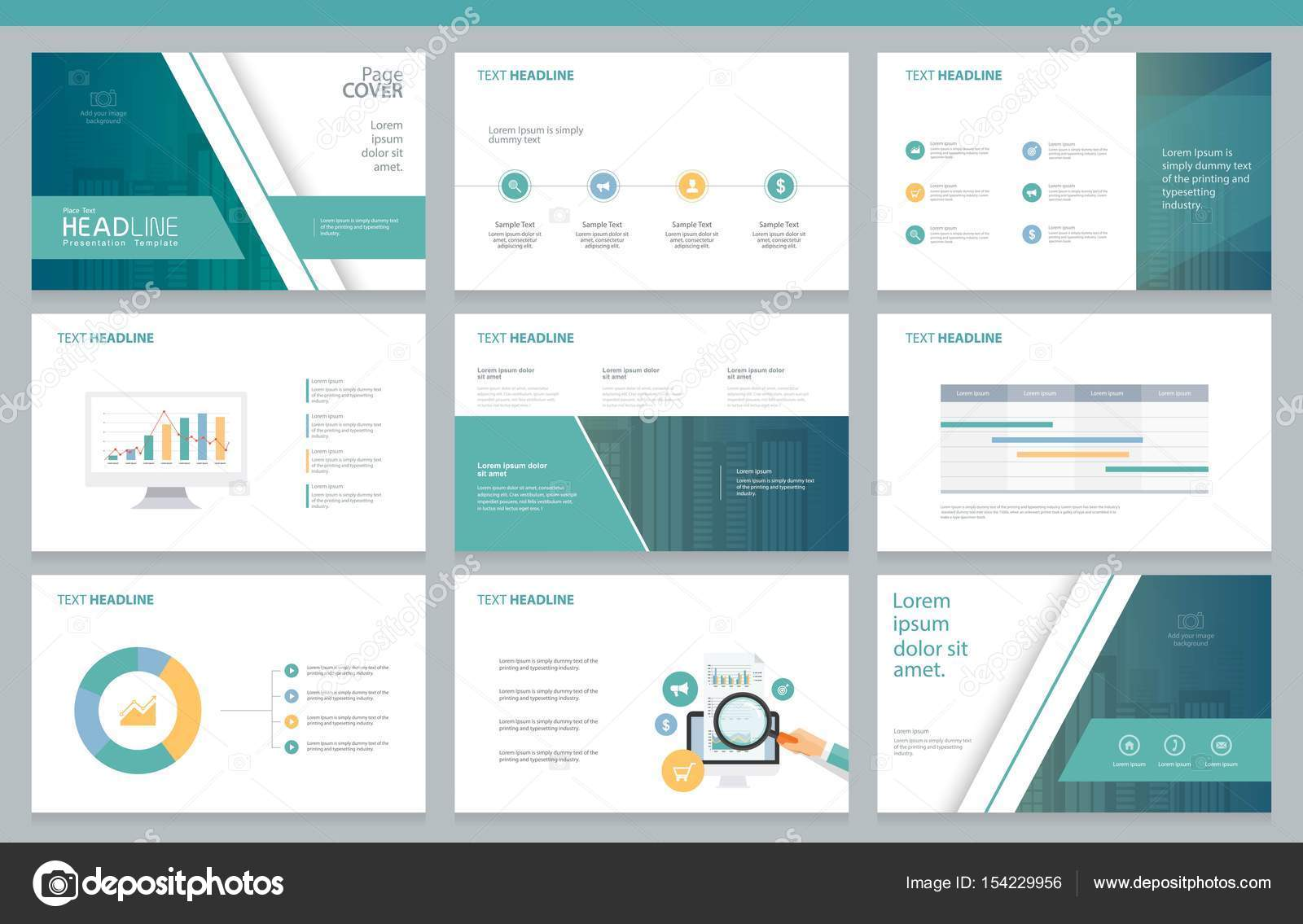 business presentation design template and page layout for brochure