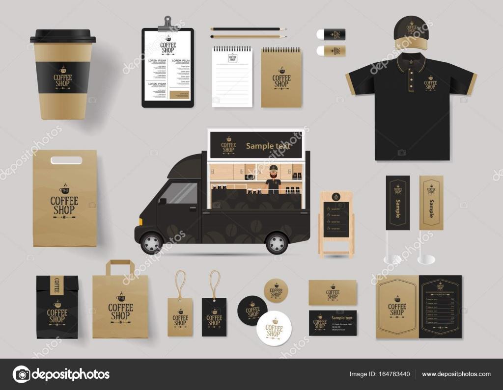 identyfikacji wizualnej marki makieta szablon dla kawiarni i
