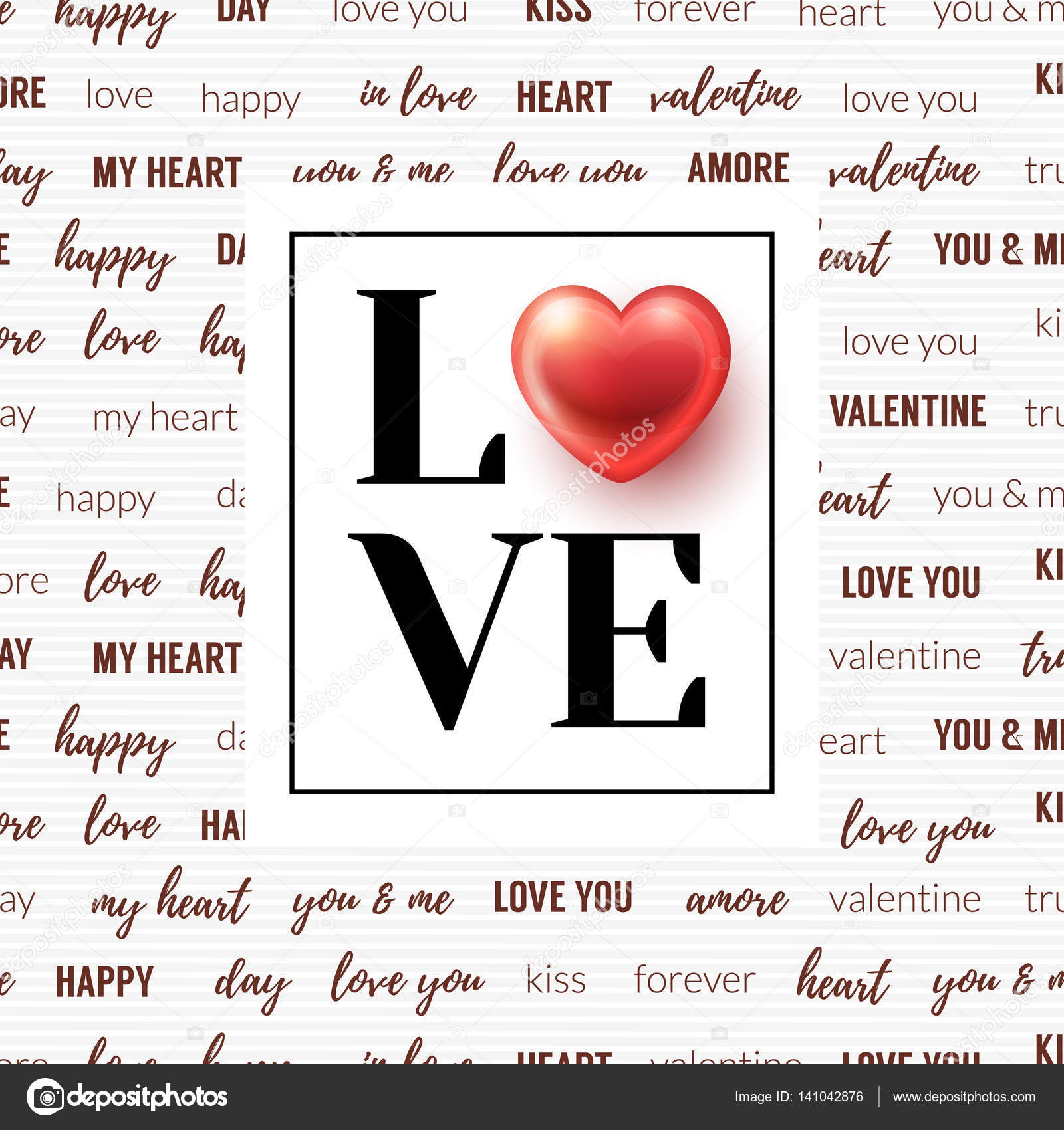 Lettering Love And Glossy Heart In Frame With Love Words On Background Valentines Day Design For Cards Wallpaper Flyers Posters Brochure
