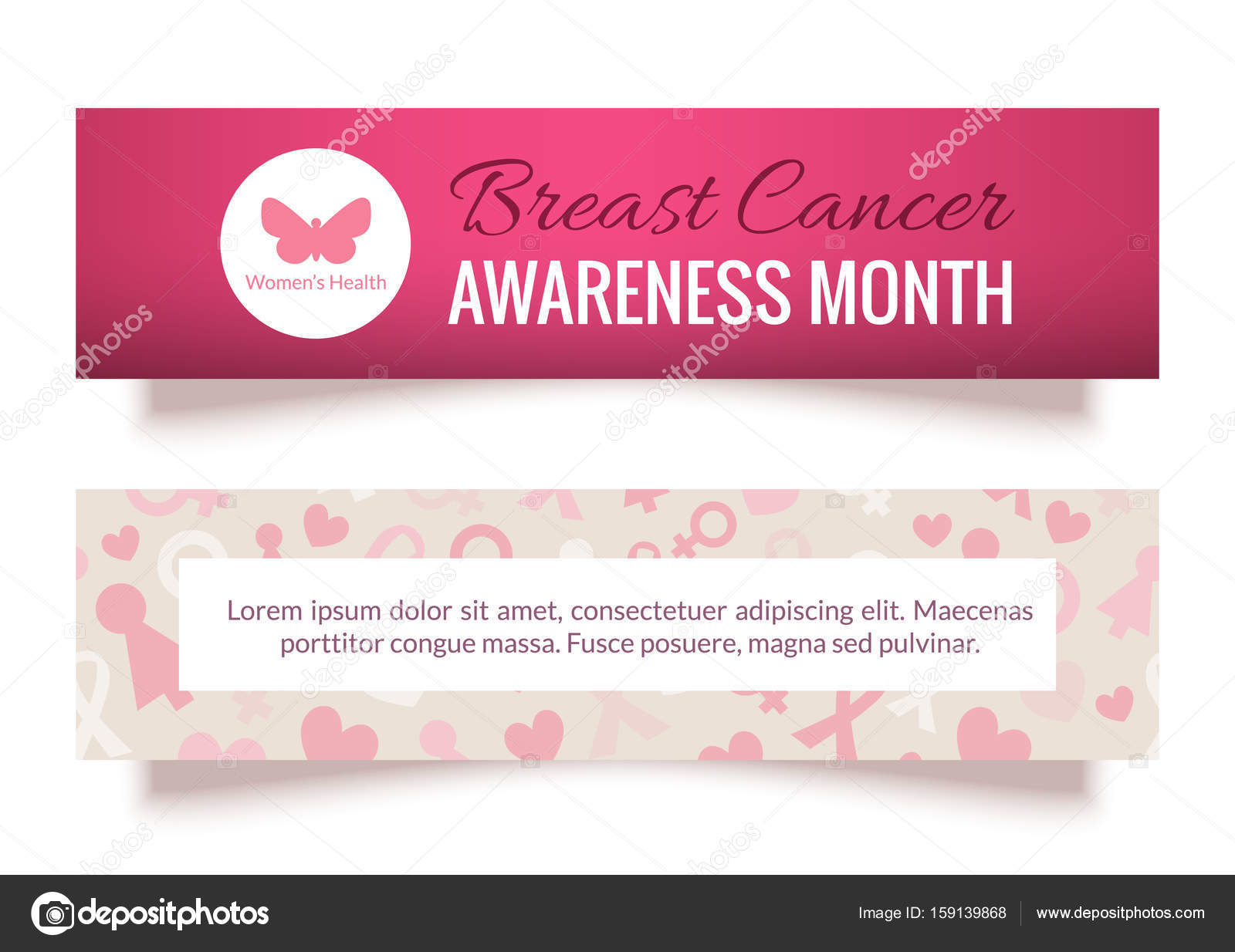 Breast Cancer Awareness Month Banners or Cards Set — Stock Vector ...