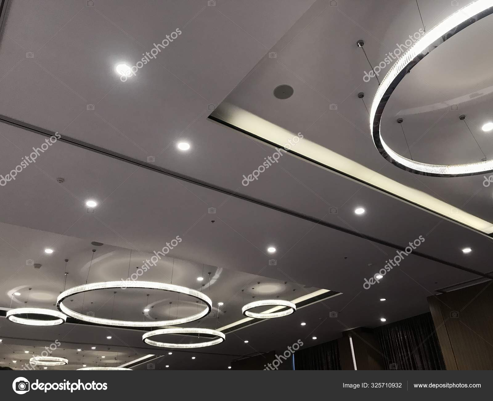 A Decorative Suspended Gypsum False Ceiling Interiors With Circle Shaped Led Lighting For An Banquet Hall To Carryout An Grand Party Stock Photo Image By C Murugeshgce Gmail Com 325710932