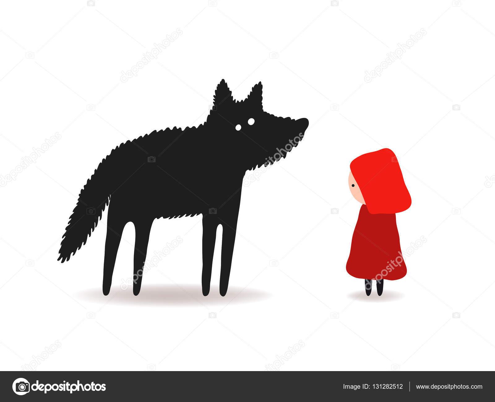 Cappuccetto Rosso E Il Lupo Design Personaggi Vettoriali Stock