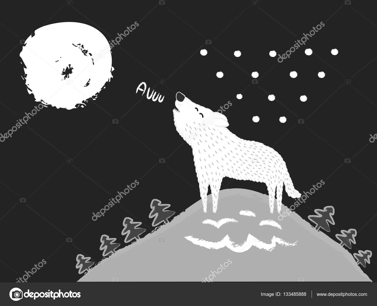 white wolf howling at the moon winter landscape and forest at n
