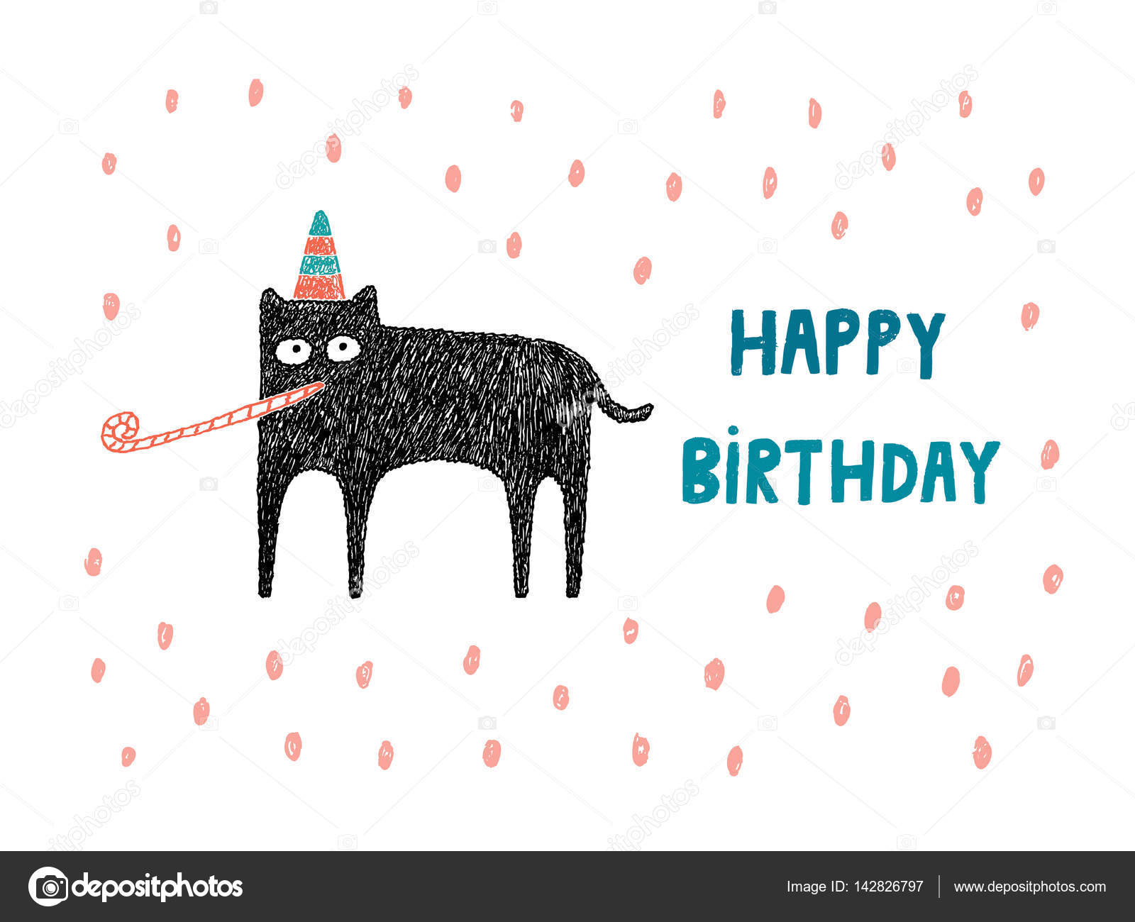 Happy birthday card cat with hat and party blower vector illus happy birthday card cat with hat and party blower vector illus stock vector bookmarktalkfo Choice Image