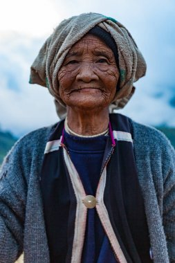 31 DEC. 2017  young asian old lady she is hilltribe Northern in Doi Ang Khang Chiang Mai, Thailand.