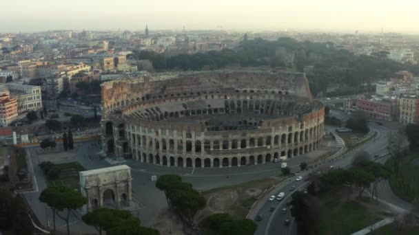 The Colosseum in Rome at dusk