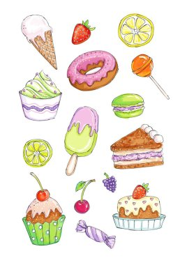 Set of candies and sweet in cheerful lively colors on a white background