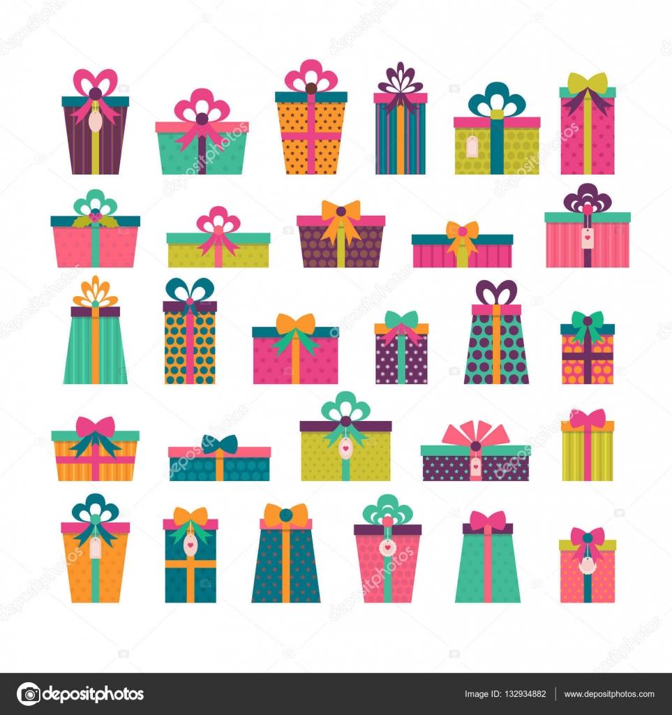 születésnapi meglepetés ajándék Születésnapi meglepetés. Különböző ajándék dobozok halmaza. Színes  születésnapi meglepetés ajándék