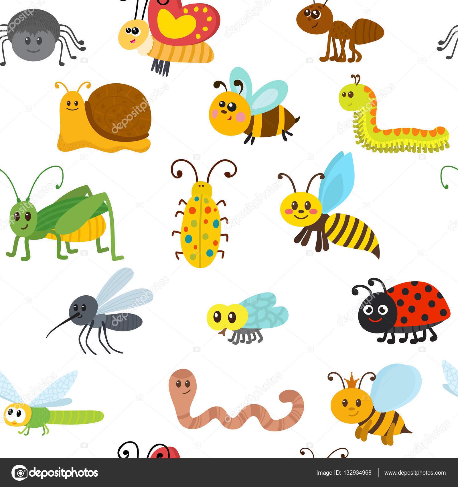 Insectos De Primavera Para Niños Patrón Sin Fisuras De Dibujos