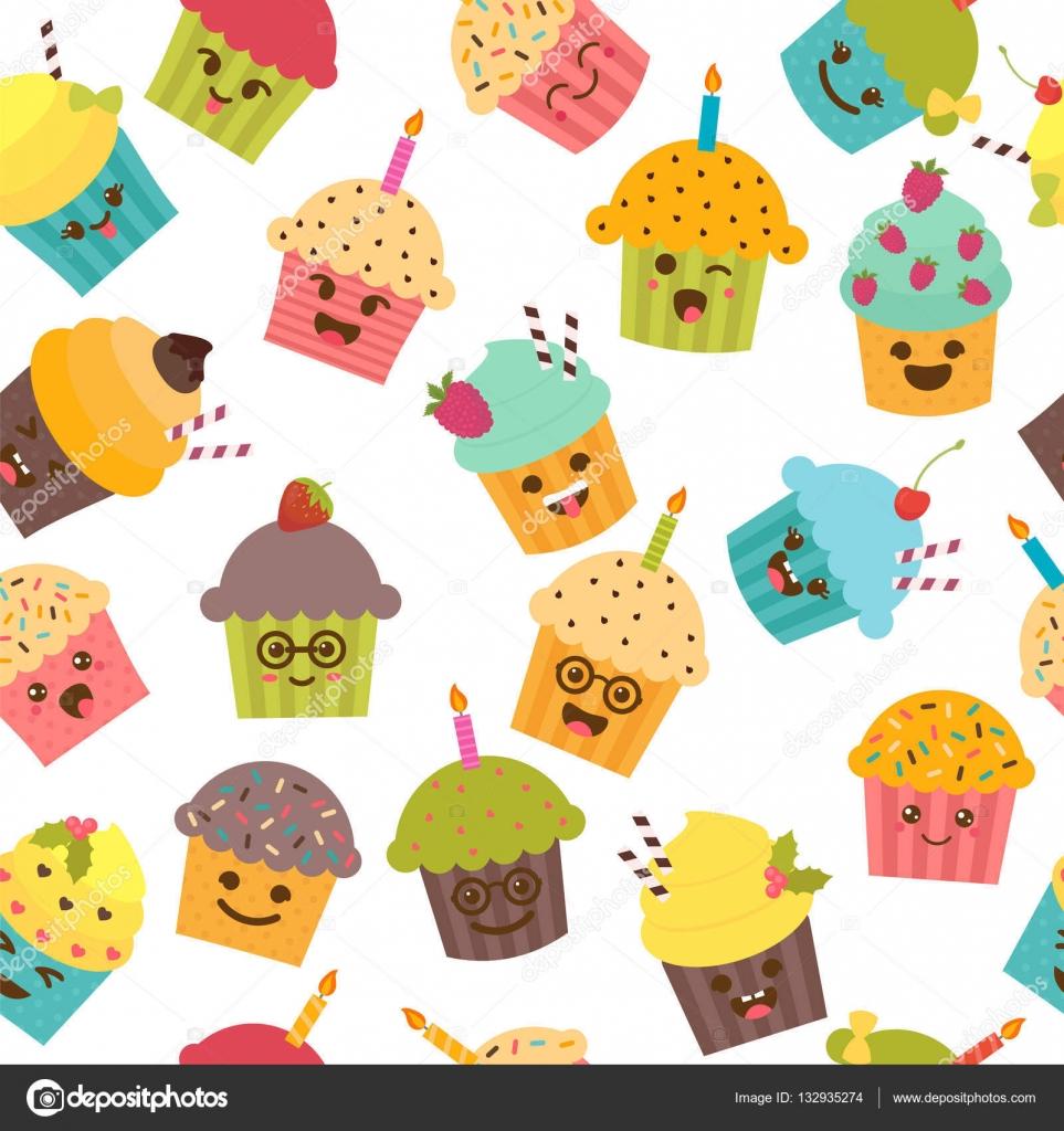 modle sans couture avec petits gteaux et muffins personnages de dessin anim mignon emoji contexte de lanniversaire kawaii cupcakes