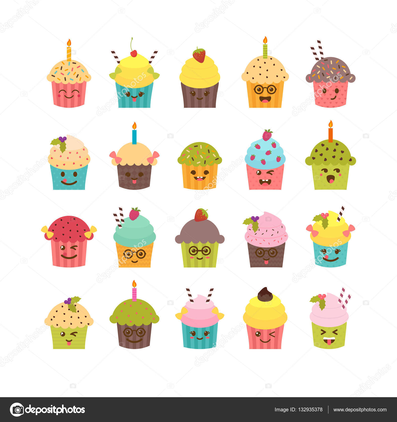 Set Of Cupcakes And Muffins Kawaii Cupcakes Set Cute Cartoon C