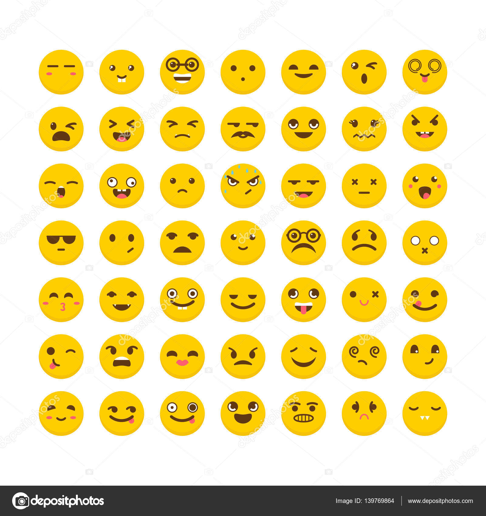Sada Smajliku Roztomily Emoji Ikony Avatary Vtipne Kreslene