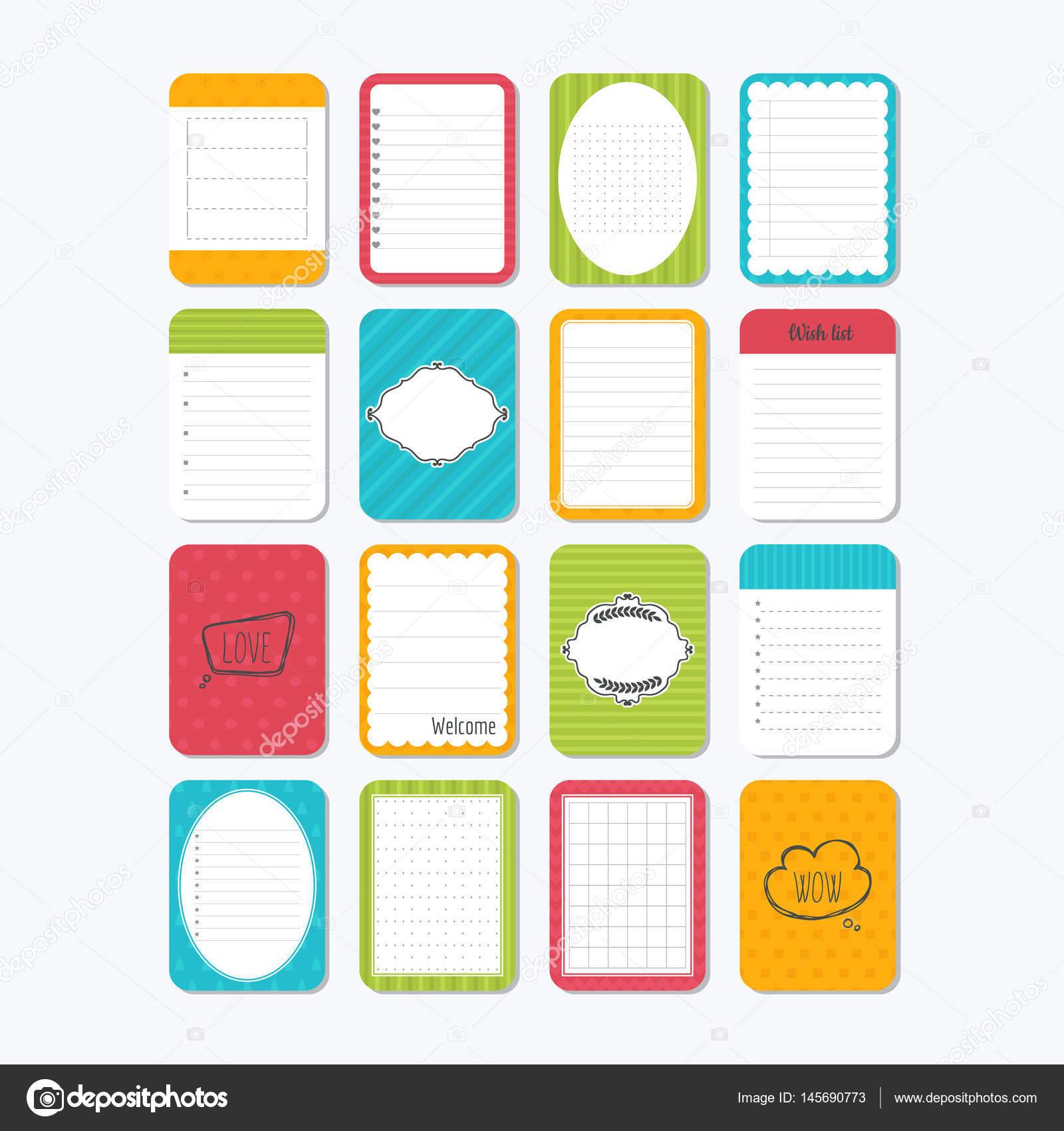Sammlung von verschiedenen Hinweis Papiere. Vorlage für Notebooks ...