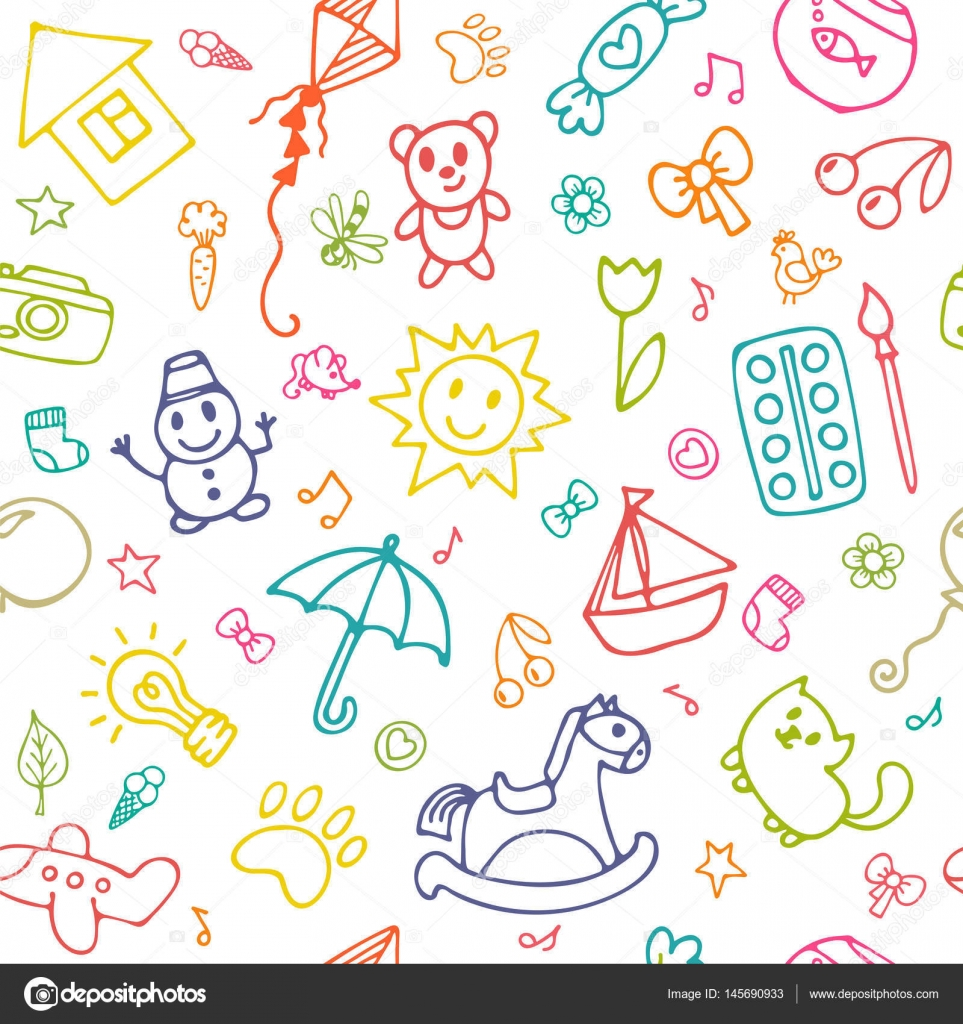 seamless pattern for cute little girls and boys doodle children drawing background sketch set