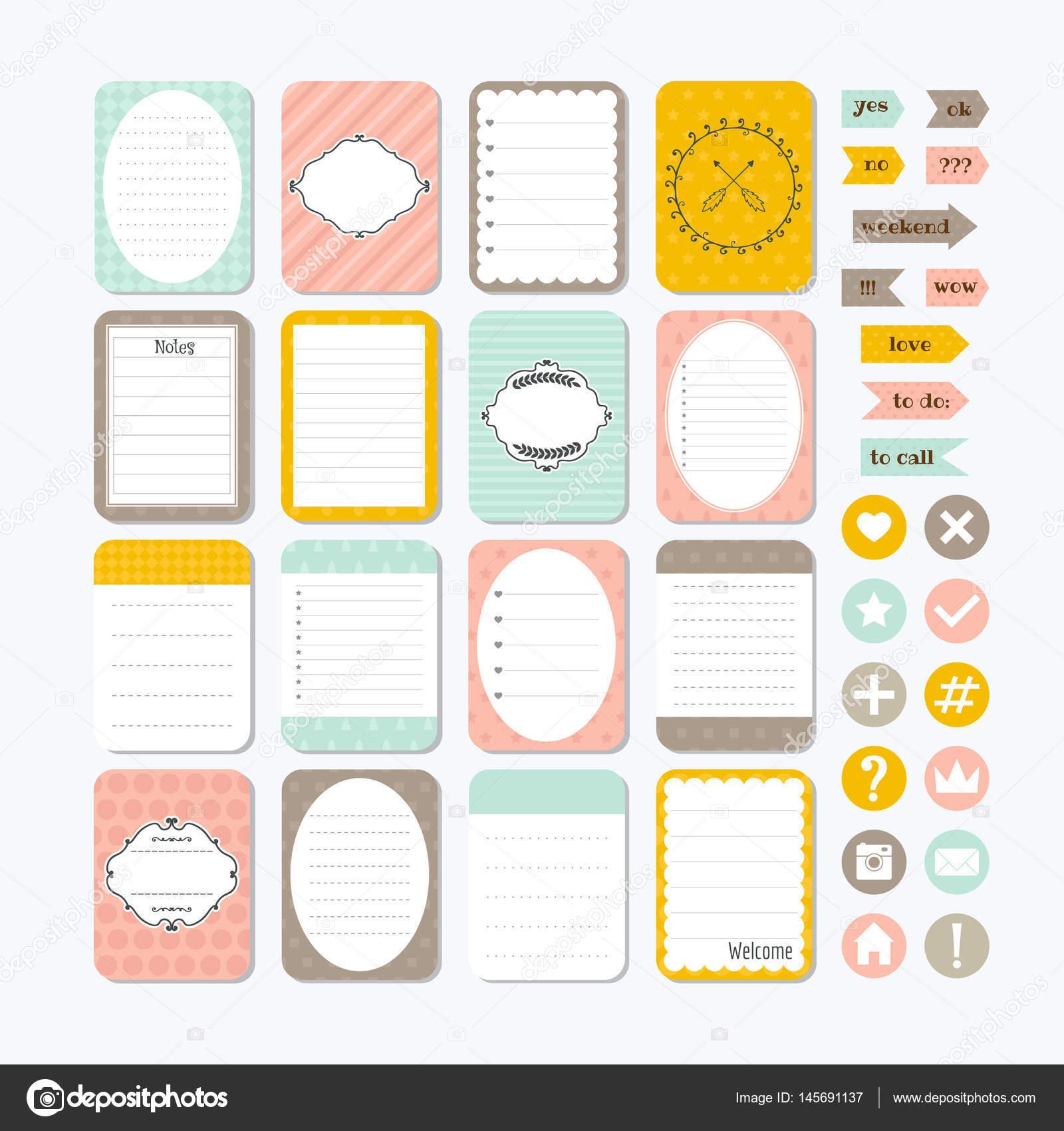 Vorlage für Notebooks. Niedliche Designelemente. Notizen ...