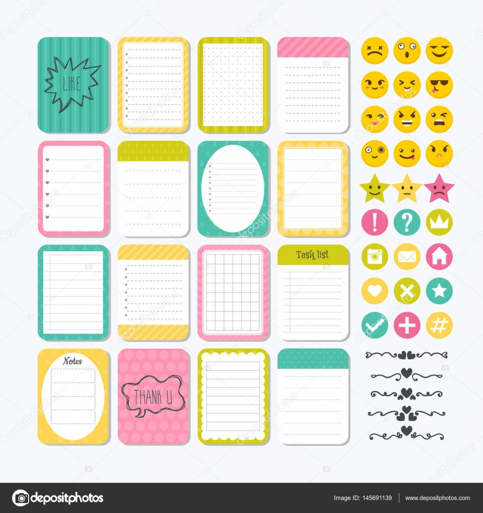 template for notebooks. cute design elements. notes, labels, sti