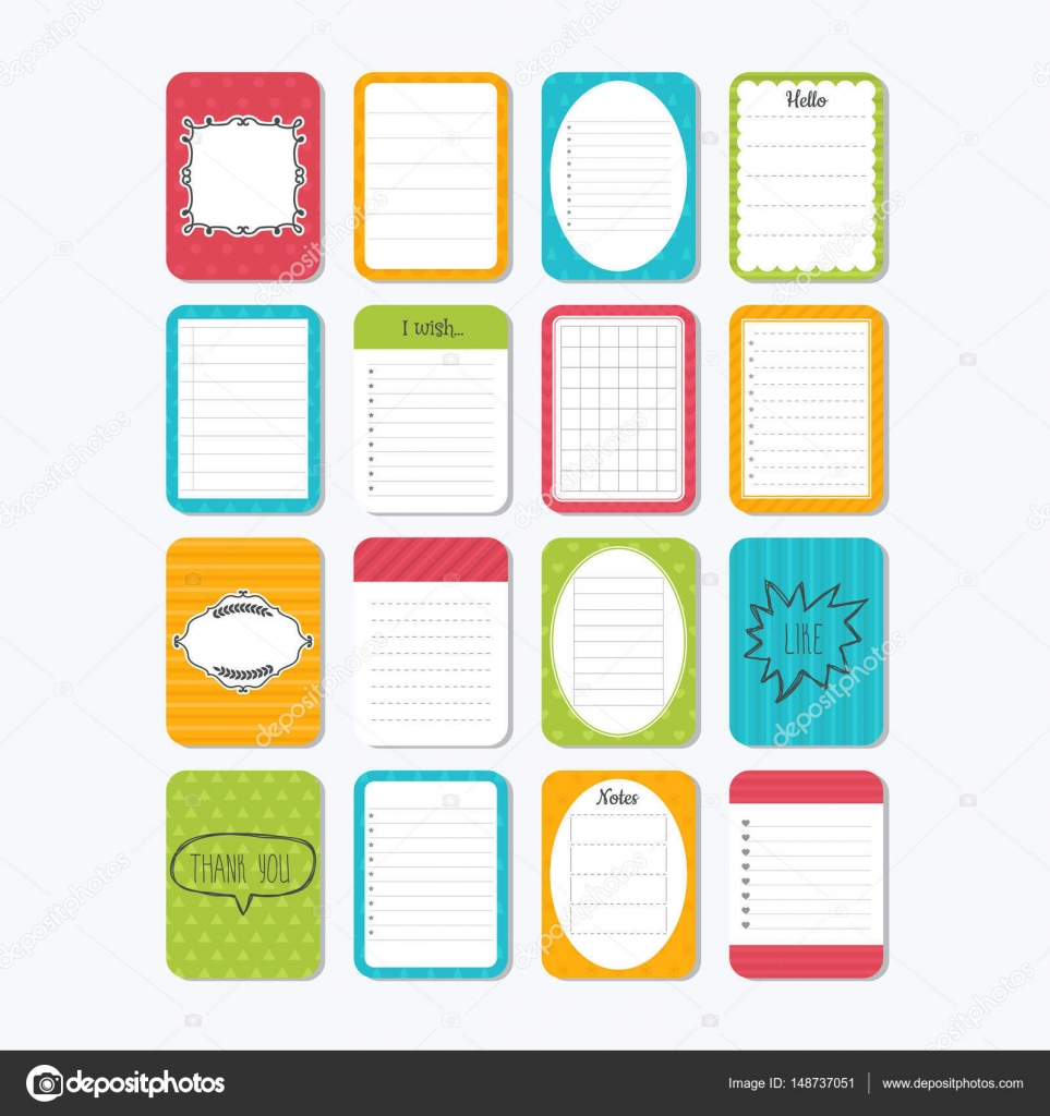 Sheets of paper. Collection of various note papers. Cute design ...