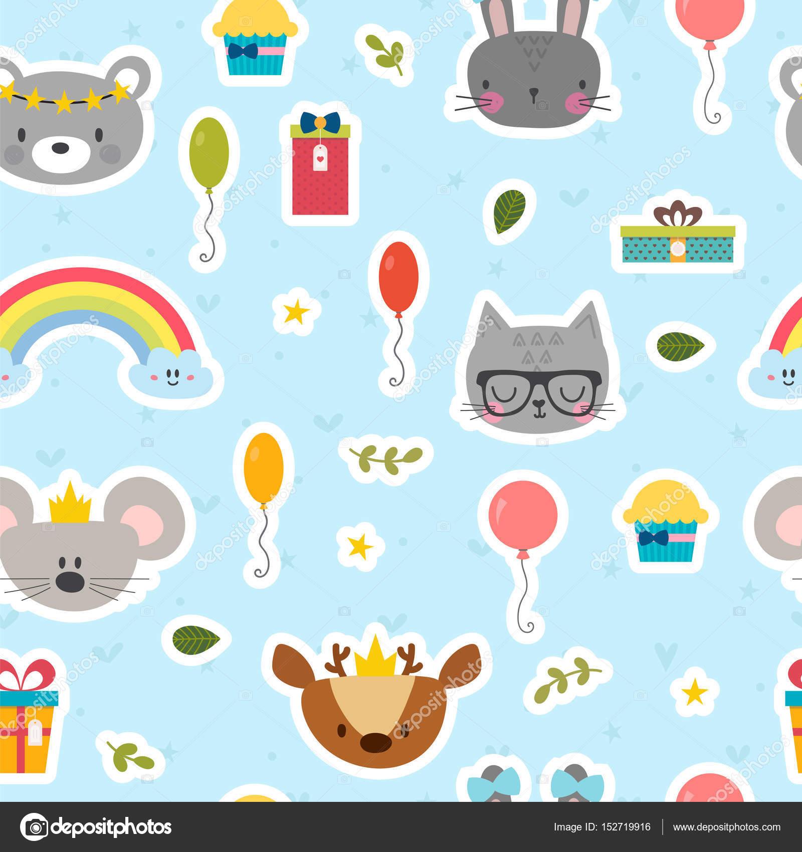 Niedliche Musterdesign Mit Comic Tiere Susser Geburtstag Hintergrund