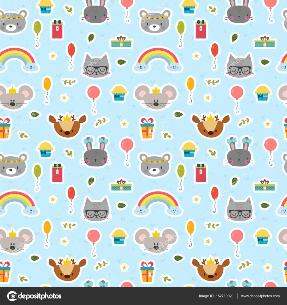 Cute seamless pattern with cartoon animals Happy Birthday theme