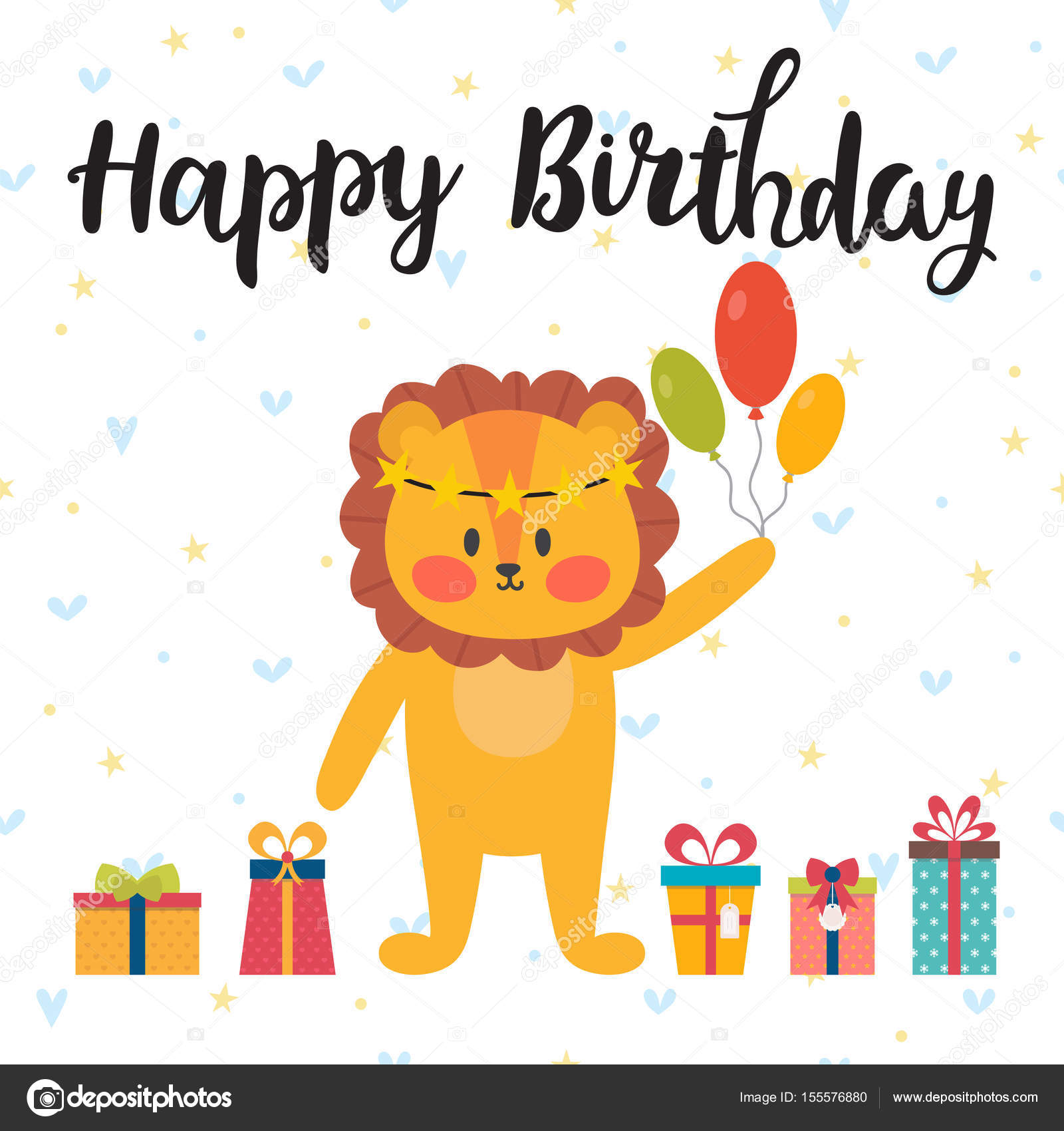 Happy birthday greeting card cute postcard with funny little lion happy birthday greeting card cute postcard with funny little lion stock vector kristyandbryce Image collections