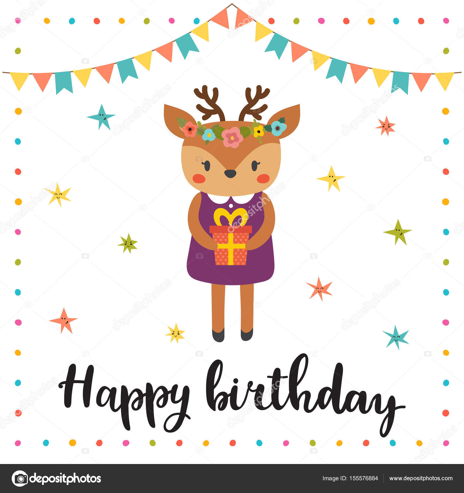 Happy Birthday Cute Greeting Card With Funny Little Deer Stock