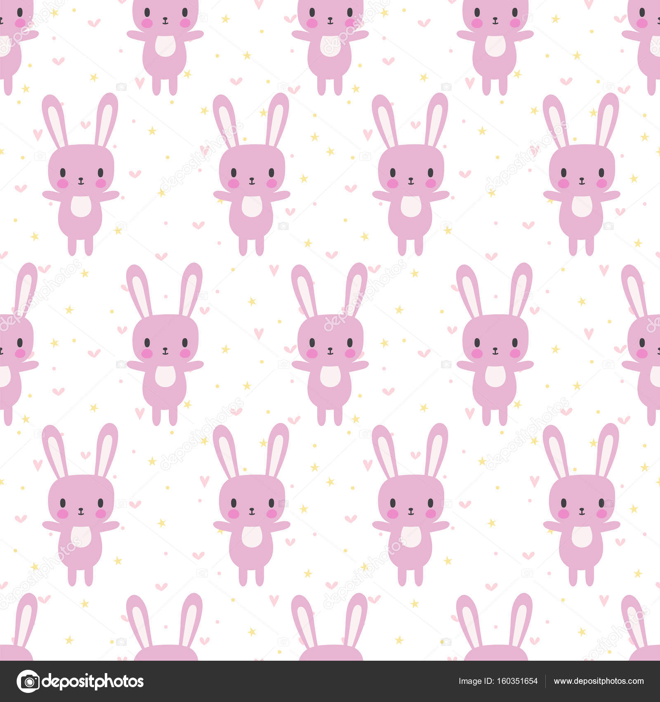 Lindo de patrones sin fisuras con conejo de dibujos animados. Fondo ...