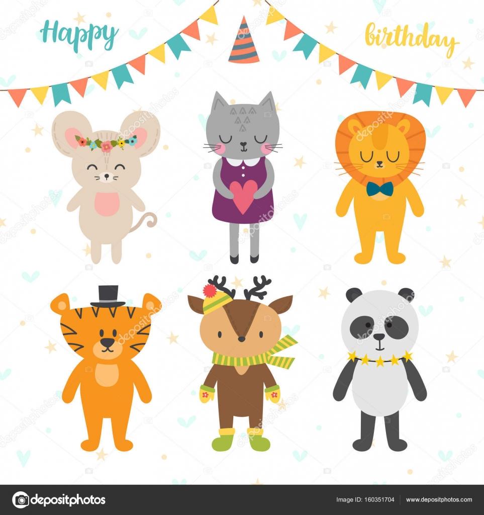 Happy Birthday Card Mit Niedlichen Cartoon Tiere Stockillustration