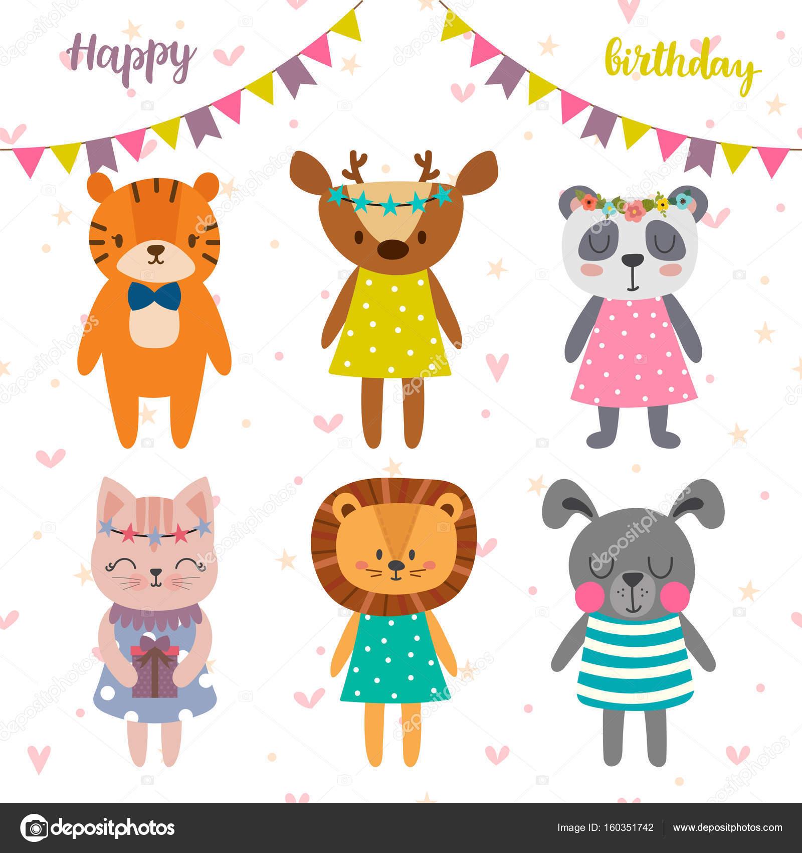 vtipné pohlednice k narozeninám Všechno nejlepší k narozeninám design s roztomilé kreslené zvířata  vtipné pohlednice k narozeninám