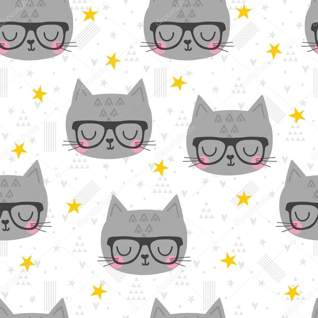 c9c6676b2c6 Patrón transparente con dibujos animados cute poco cat. Fondo de los niños.  Dibujos animados de animales bebé. Diseño textil