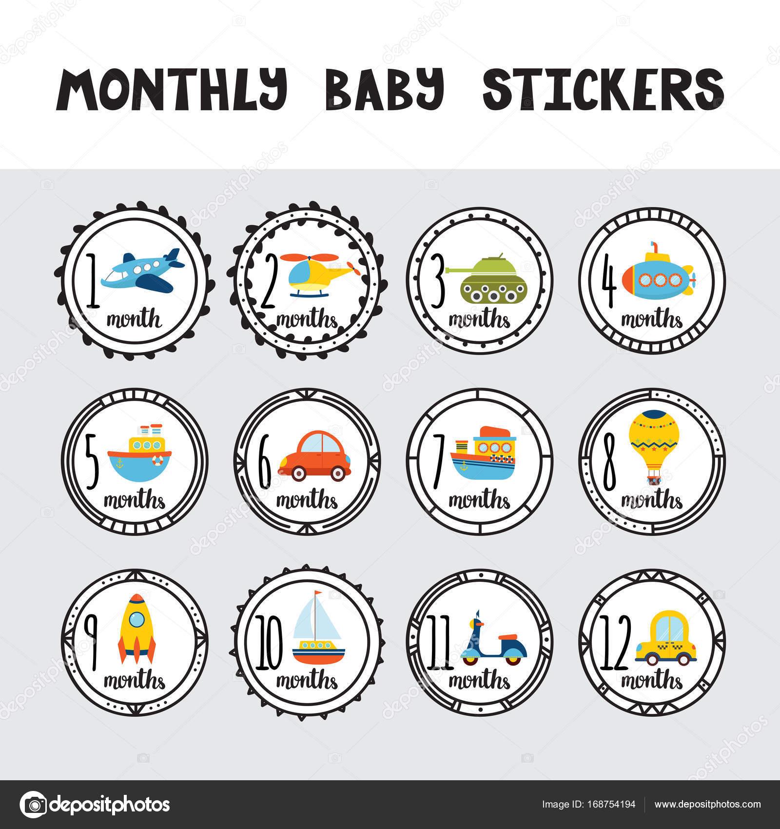 Monatliche Babyaufkleber Für Kleine Jungs Monat Für Monat Wachstum