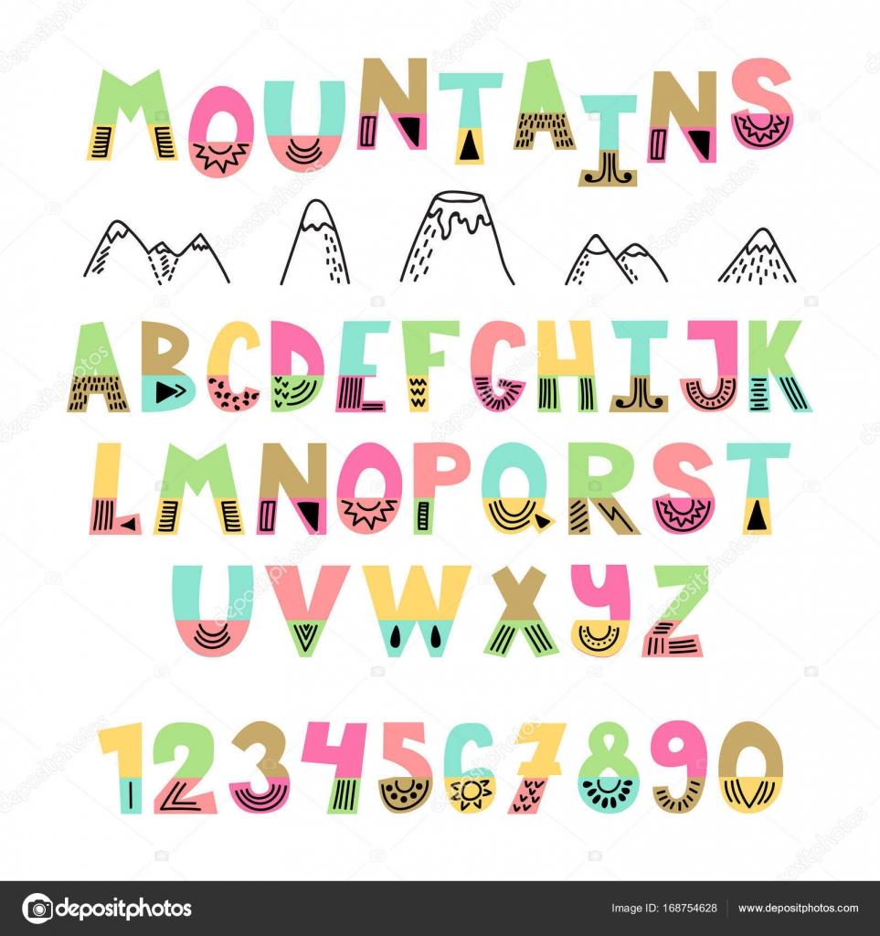 山のフォントです。手には、英語のアルファベットが描かれました