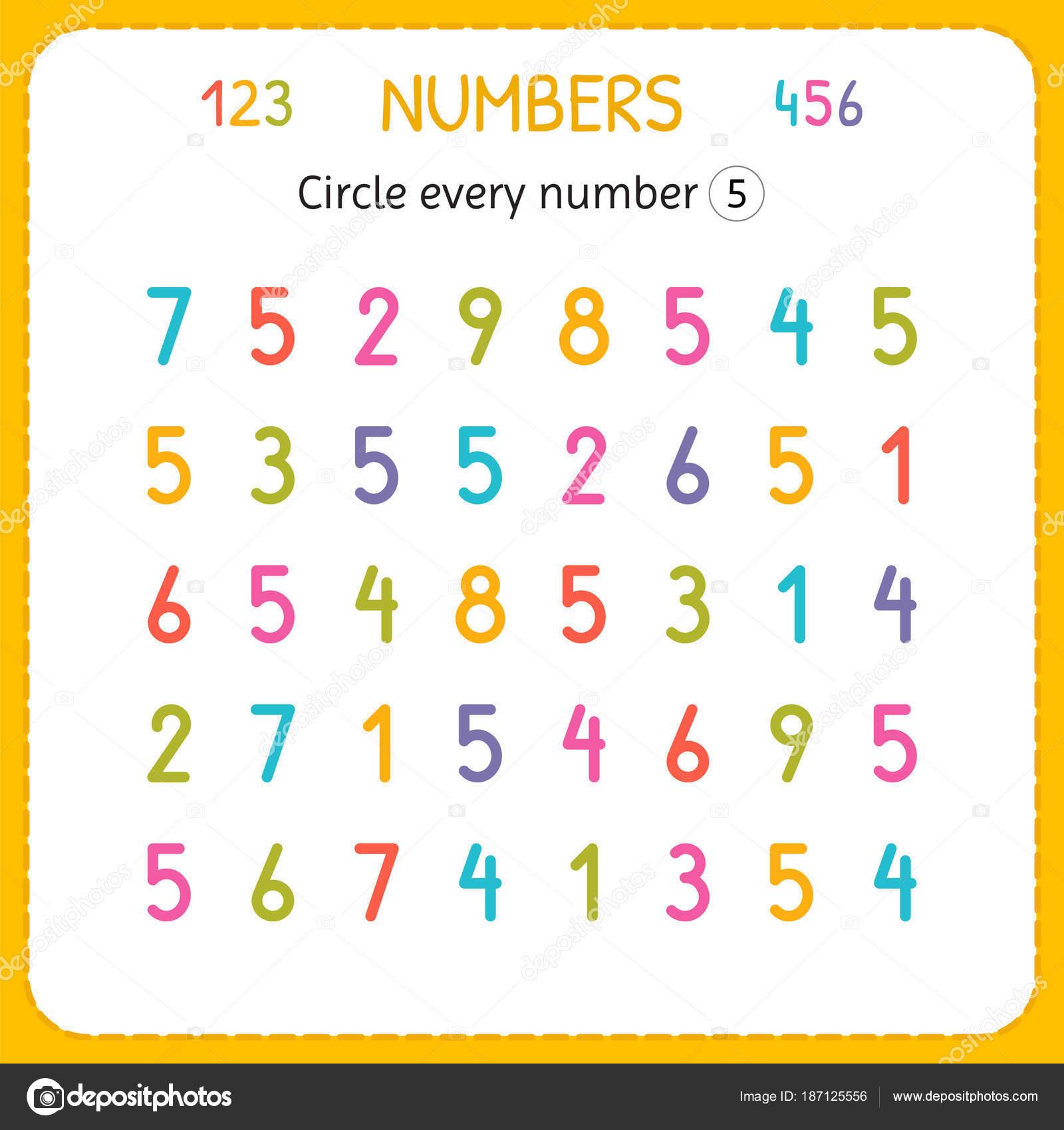 Jede Nummer fünf Kreise. Zahlen für Kinder. Arbeitsblatt für ...