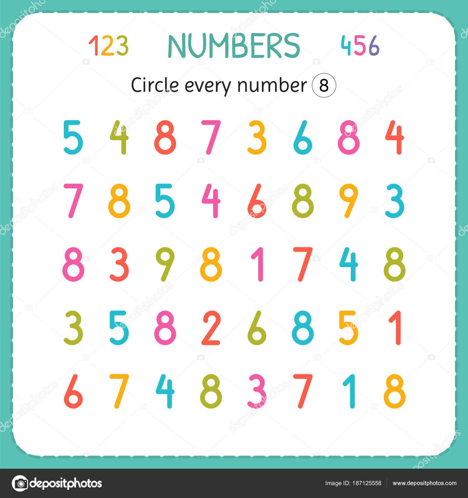 Kreuzen Sie jede Zahl acht. Zahlen für Kinder. Arbeitsblatt für ...