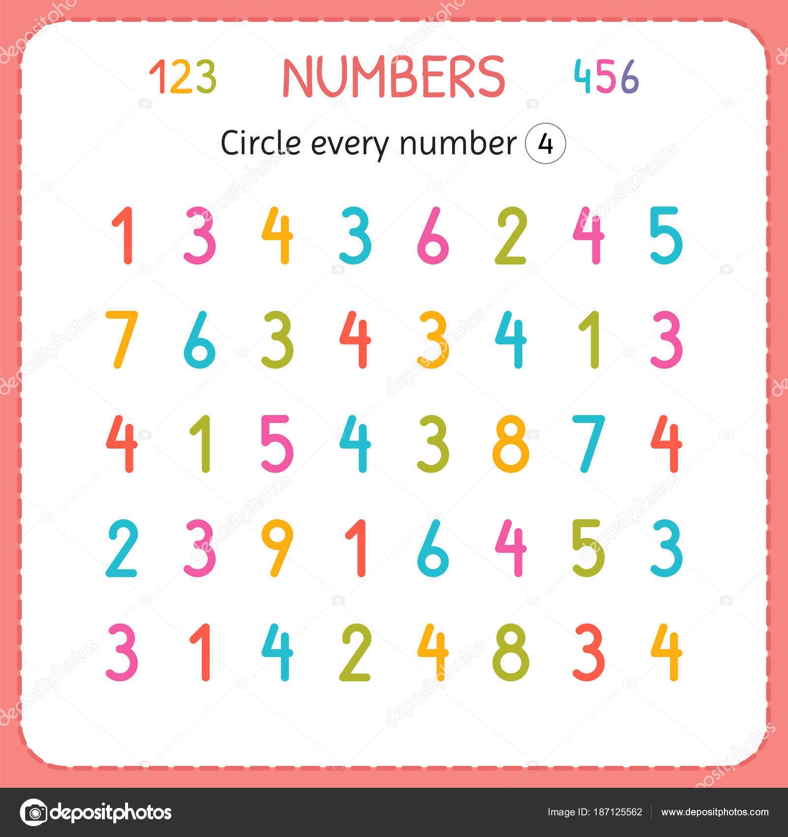 Jede Nummer vier Kreise. Zahlen für Kinder. Arbeitsblatt für ...