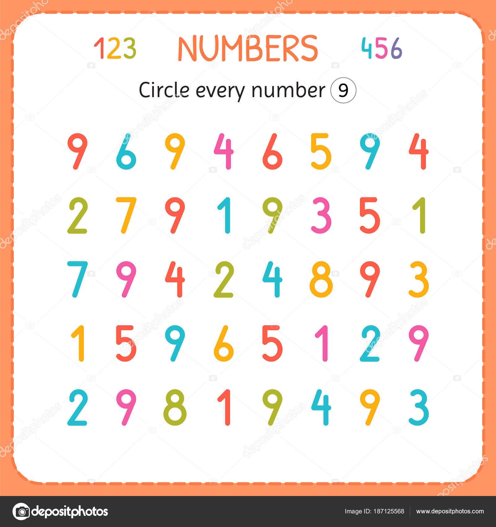 Kreuzen Sie jede Zahl neun. Zahlen für Kinder. Arbeitsblatt für ...