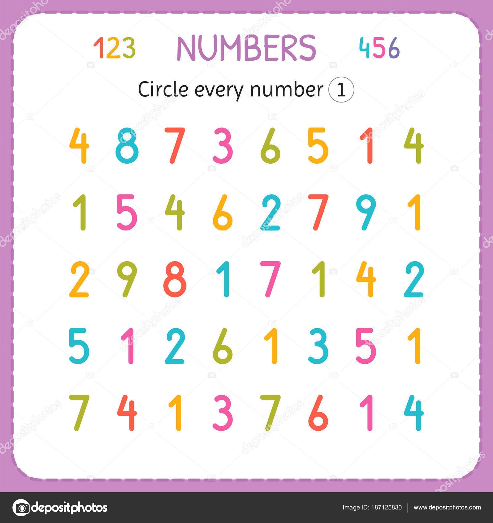 Kreisen Sie jede Nummer eins. Zahlen für Kinder. Arbeitsblatt für ...
