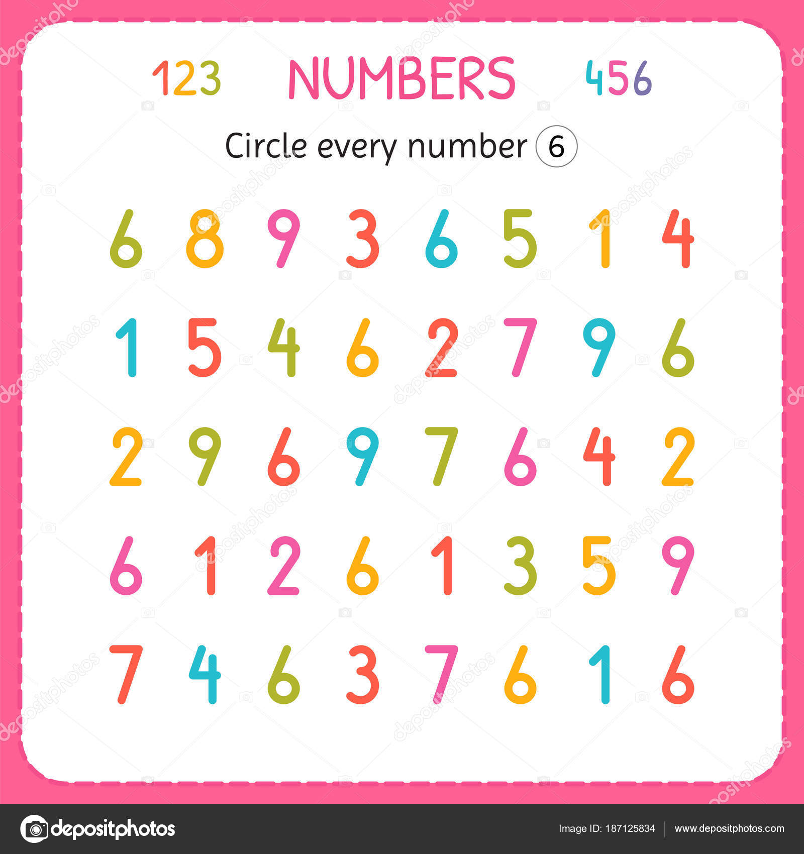 Circle every number Six. Numbers for kids. Worksheet for ...