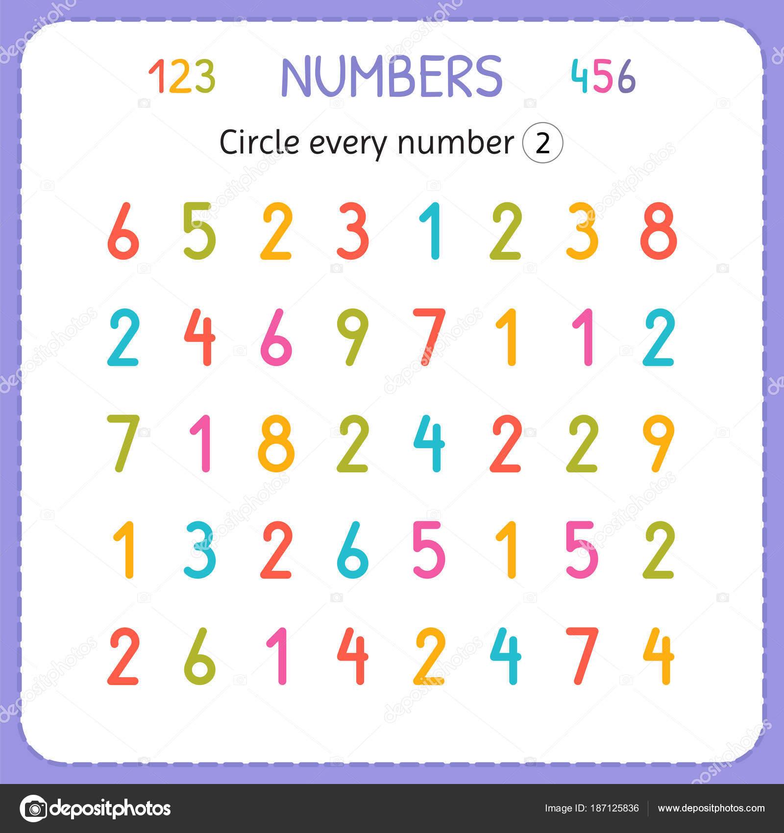 Jede Nummer zwei Kreise. Zahlen für Kinder. Arbeitsblatt für ...