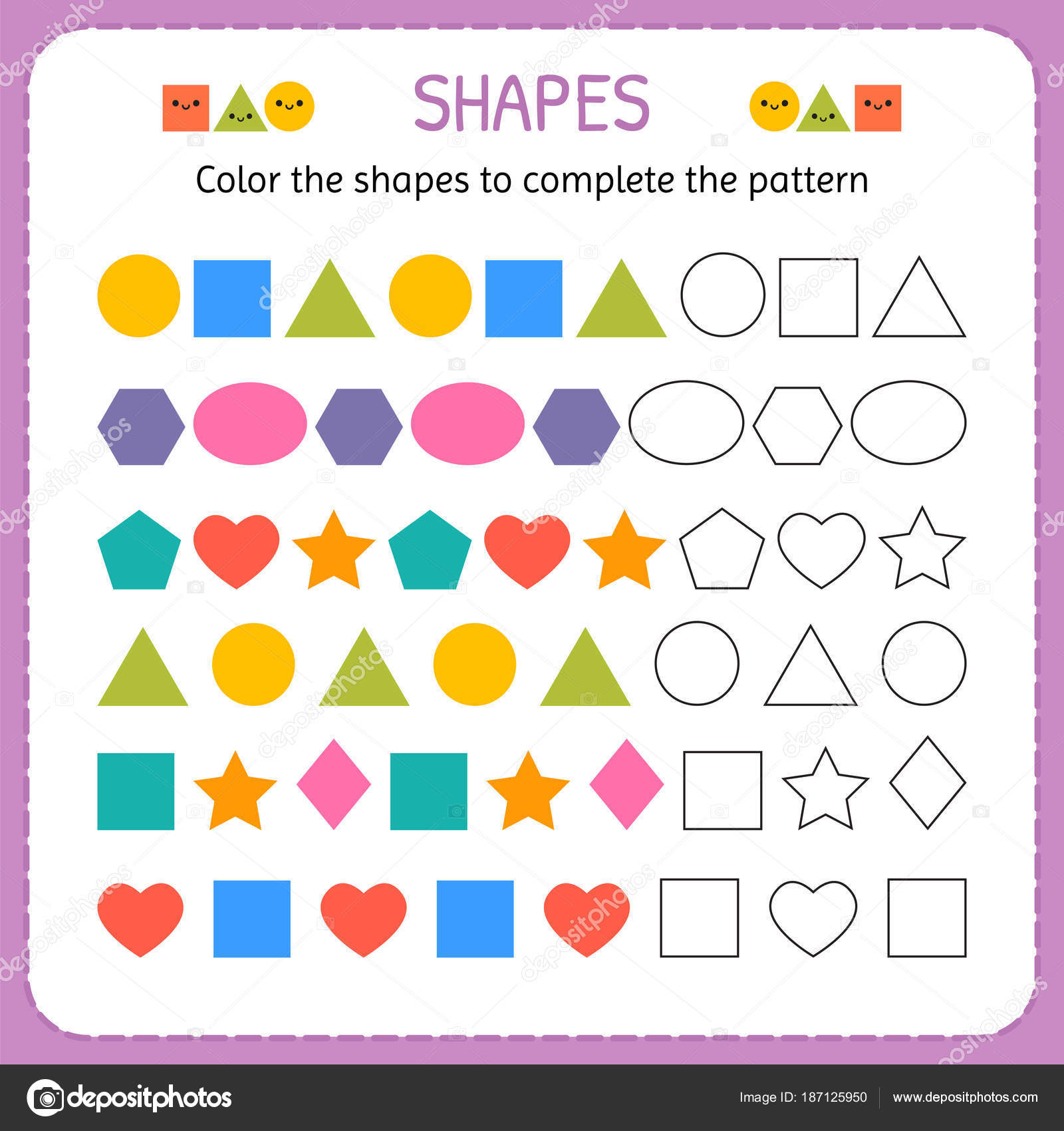 Color de las formas para completar el patrón. Aprender las formas y ...