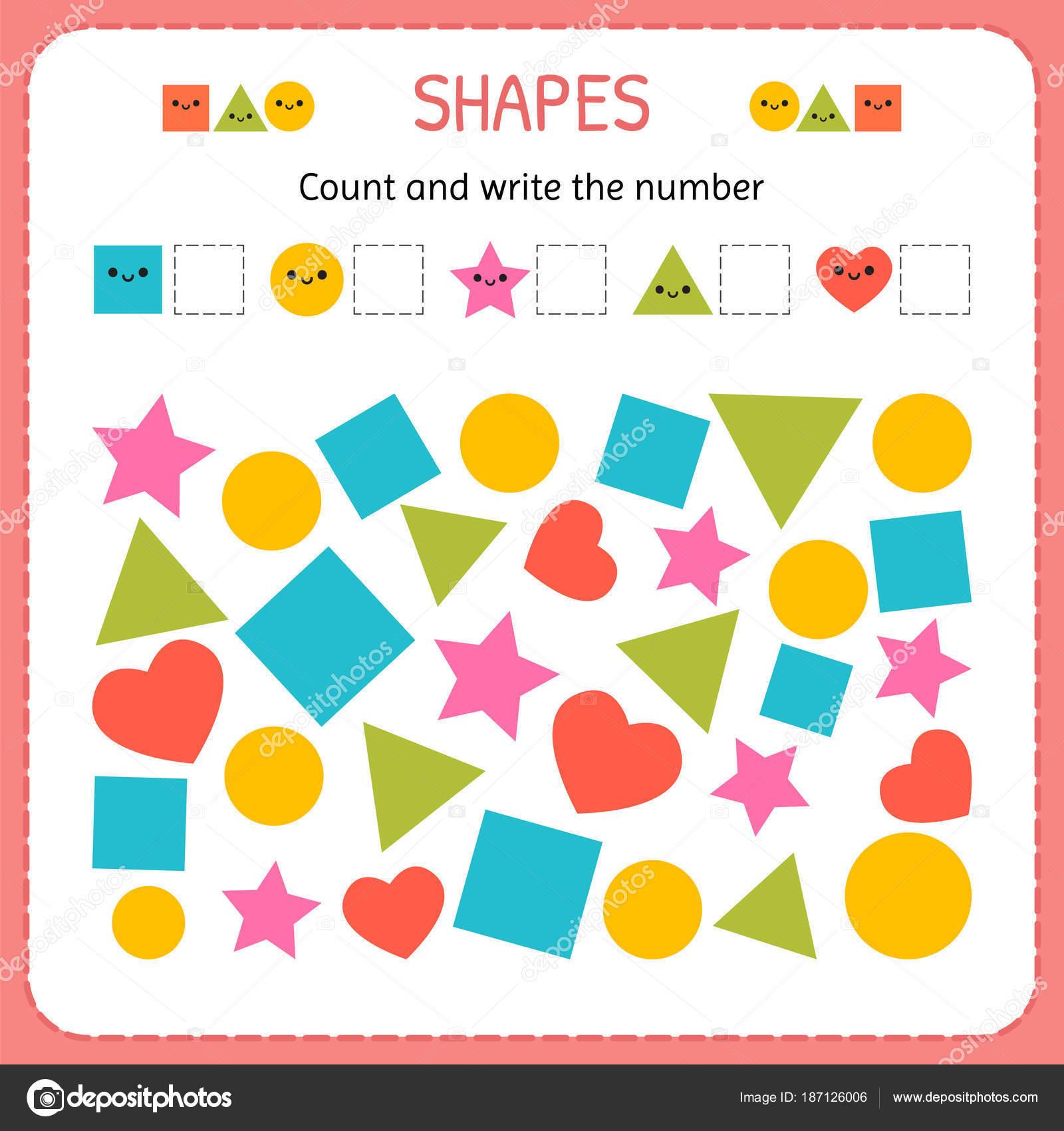 Zähle und schreibe die Zahl. Formen und geometrischen Figuren zu ...