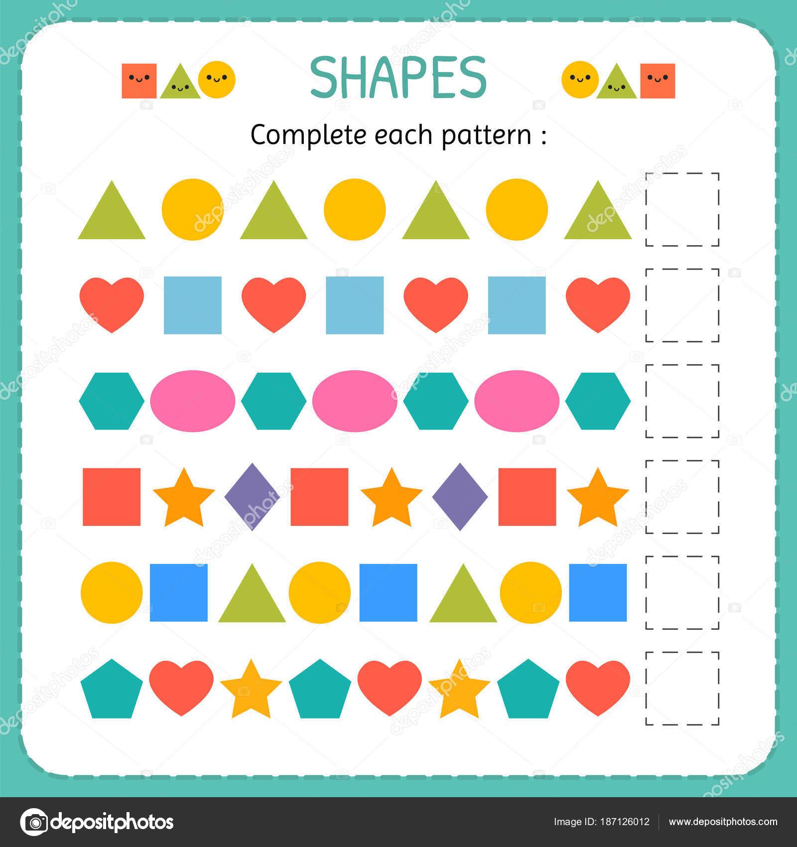 Füllen Sie jedes Muster. Formen und geometrischen Figuren zu lernen ...