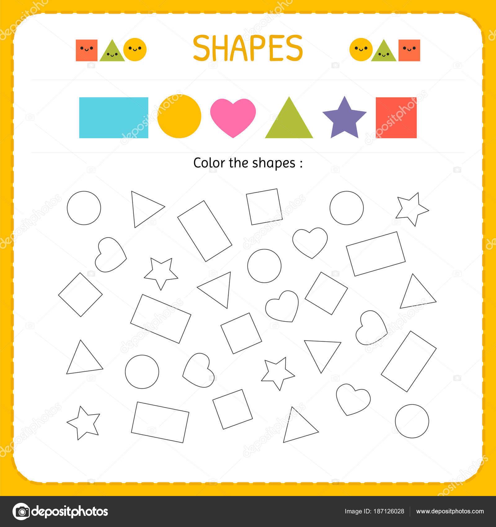Färben mehrere Shapes. Formen und geometrischen Figuren zu lernen ...