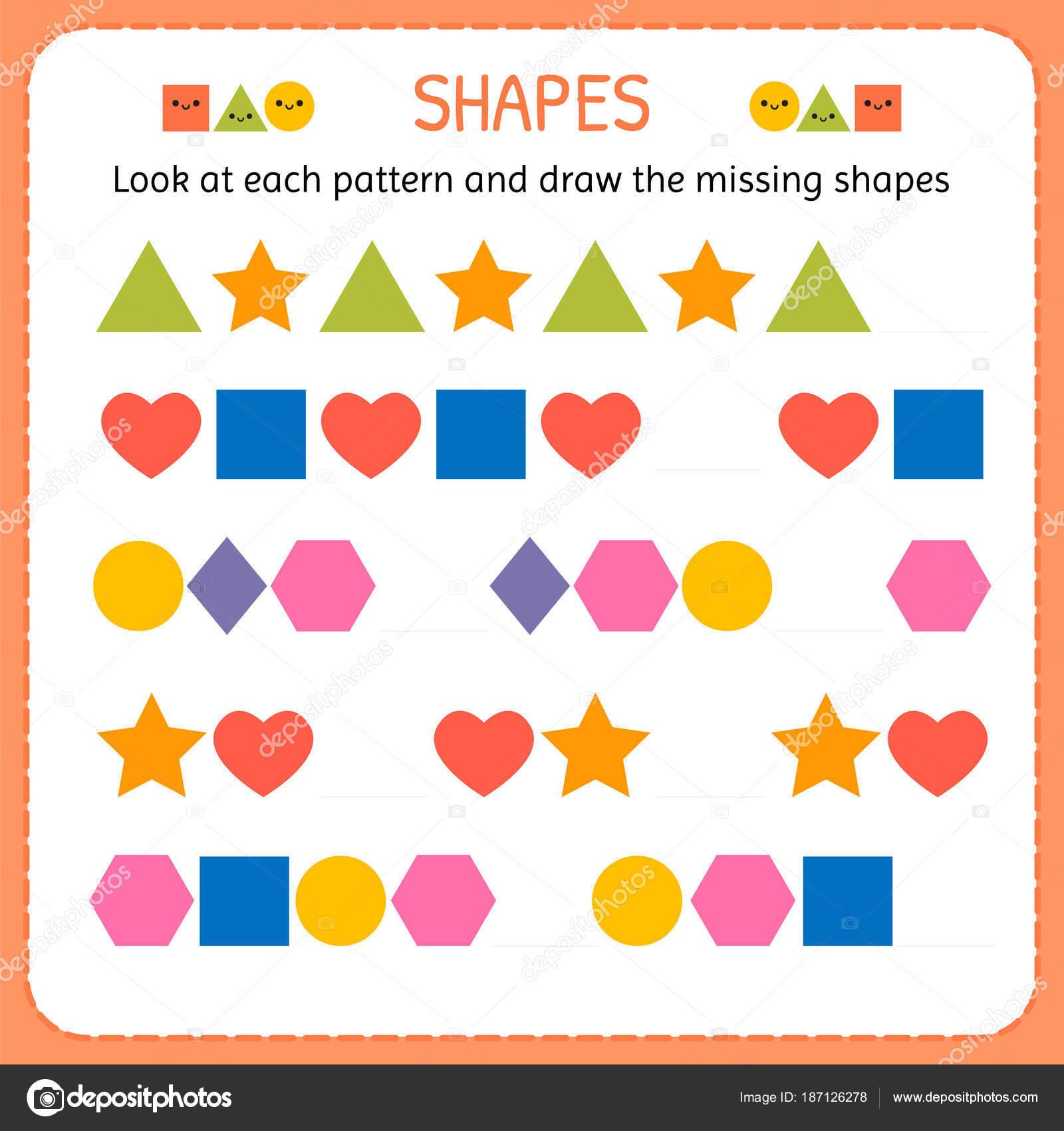 Schauen Sie sich jedes Muster und zeichnen Sie die fehlenden Formen ...