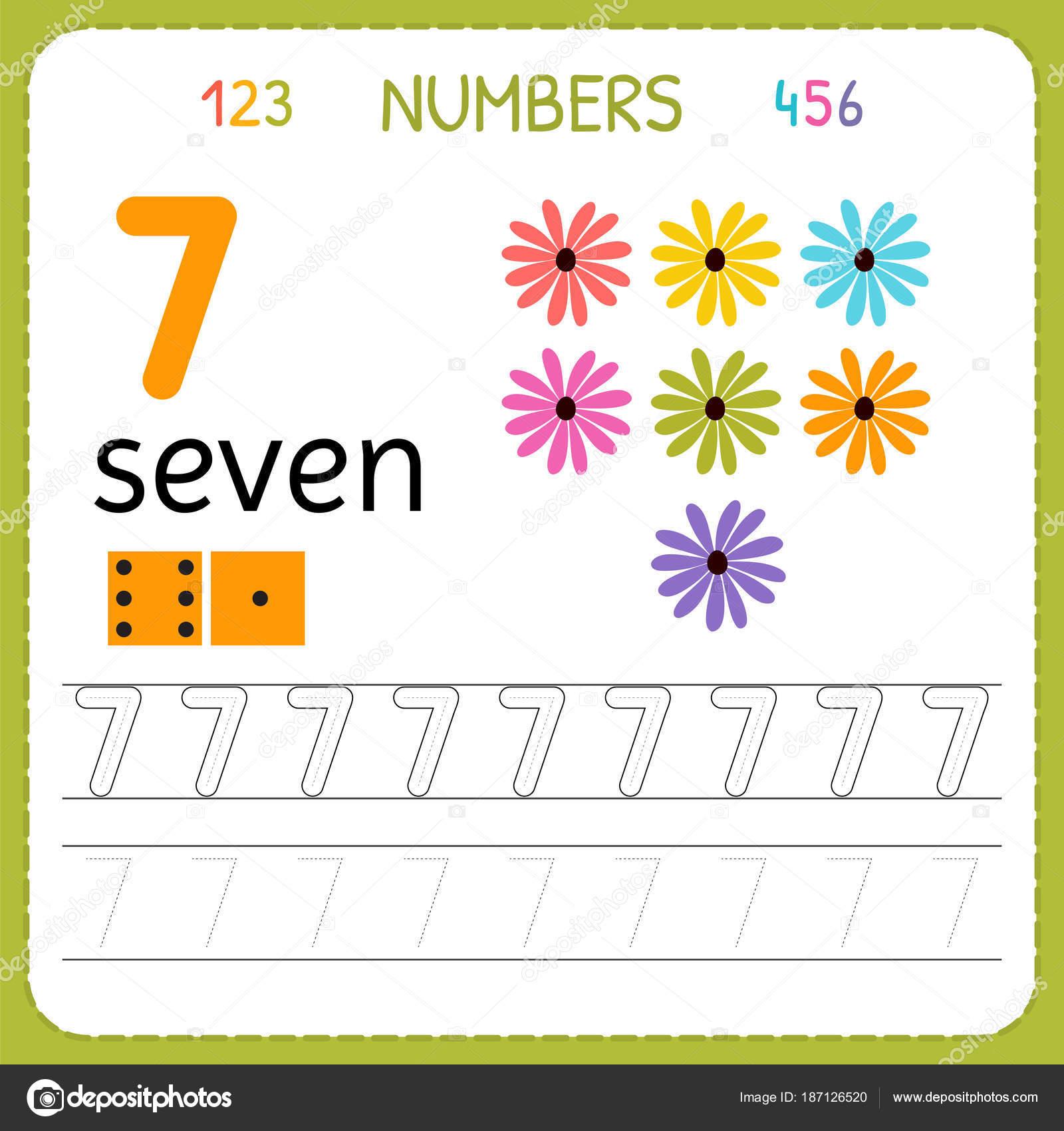 2c787bc83 Hoja de trabajo de seguimiento números para preescolar y kindergarten.  Escritura número siete. Ejercicios para niños. Juegos de matemáticas.